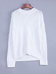Normal Pullover Femme Décontracté / Quotidien Chic de Rue,Couleur Pleine Blanc Col Arrondi Manches Longues Laine Printemps / Automne Epais