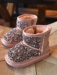 Girl's Boots Winter Comfort Glitter Casual Flat Heel Sparkling Glitter Black / Pink Others