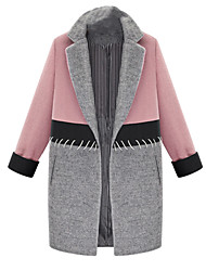 Women's Plus Size / Casual/Daily Simple / Street chic CoatColor Block Plus Size Hin Thin Slim Shirt Collar Long Sleeve Spring / Winter Medium