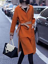 Manteau Femme,Couleur Pleine Sortie / Décontracté / Quotidien / Soirée / Cocktail simple Manches Longues Col de Chemise Rouge / Orange