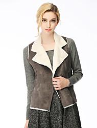 Damen Einfarbig Street Schick Jacke,Winter Hemdkragen Langarm Braun / Grau Polyester