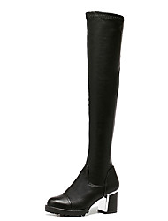 Women's Boots Winter PU Casual Chunky Heel Split Joint Black
