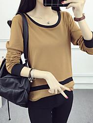 Damen Einfarbig Einfach Ausgehen T-shirt,Rundhalsausschnitt Herbst Langarm Braun / Grau / Orange Baumwolle Mittel