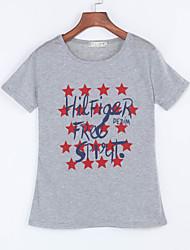 Women's Summer T-shirt,Print Round Neck Short Sleeve Gray Cotton Medium