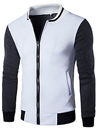 Men's Going out / Casual/Daily / Sports Simple / Active Jackets,Color Block Long Sleeve Spring / Fall White / Gray Cotton Medium