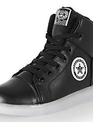 Unissex-Tênis-Conforto Sapatos de Berço Tira no Tornozelo-Rasteiro-Preto Branco-Couro Ecológico-Casual Para Esporte