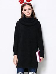 Mujer Regular Pullover Casual/Diario Bonito,Un Color Rojo Negro Cuello Alto Manga Larga Acrílico Invierno Medio Microelástico