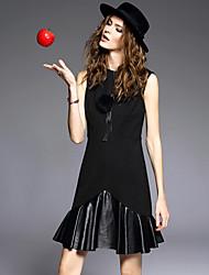 Feminino Bainha Vestido, Casual estilo antigo Sólido Decote Redondo Acima do Joelho Sem Manga Vermelho / Preto Algodão / Poliéster Inverno