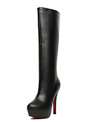 Women's Boots Elastic Over The Knee Lace-up Peep Toe Boots with Fur Lining Materials for Female Size 8.5 US