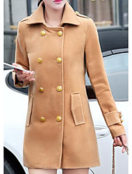 Women's Casual/Daily Simple Coat,Solid Long Sleeve Red / Brown / Yellow / Purple Polyester