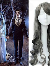75CM Grey Color Synthetic Wigs Big Cap Film Corpse Bride Custume Cosplay Wigs New Arrival Wavy Anime Cheap Heat Resistnt Wigs