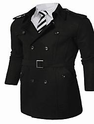 Men's Casual/Daily Simple Coat,Solid Shirt Collar Long Sleeve Spring / Fall Black / Gray Cotton Medium