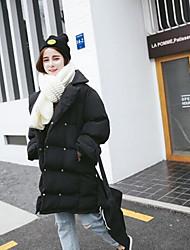 Manteau Rembourré Femme,Normal Mignon Sortie Couleur Pleine-Polyester Polyester Manches Longues Blanc / Noir / Orange