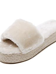Women's Slippers & Flip-Flops Fall / Winter Slingback Fur Casual Wedge Heel Others Black / Almond Others