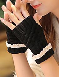 mulheres lã de comprimento metade do dedo pulso, inverno casuais sólida