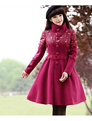 Women's Going out / Casual/Daily Cute Coat,Solid Stand Long Sleeve Fall / Winter Red Wool Thick