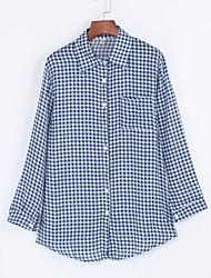 Women's Casual/Daily Street chic All Seasons Shirt,Plaid Shirt Collar Long Sleeve Blue Polyester Thin