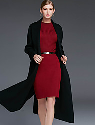 Xuanyan Women's Casual/Daily Simple CoatSolid Shirt Collar Long Sleeve Winter Red / Black / Brown / Green Wool