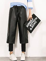 Feminino Solto Chinos Calças-Cor Única Casual Simples Cintura Alta Com Cordão Poliéster Stretchy Outono / Inverno