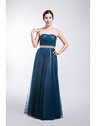 Formal Evening Dress A-line Strapless Floor-length Tulle with Sash / Ribbon