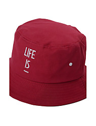 Women Men Cotton Pure Color Embroidered Letter  Printing Outdoor Fisherman Basin Cap