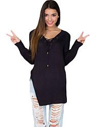Damen Solide Sexy T-shirt,V-Ausschnitt Herbst Langarm Weiß / Schwarz / Gelb Polyester / Elasthan Mittel