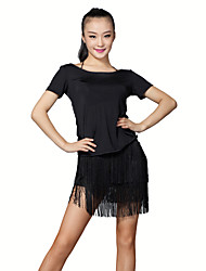 Latin Dance Outfits Women's Training Milk Fiber Tassel(s) 2 Pieces Black / Purple / Red Latin Dance Wear