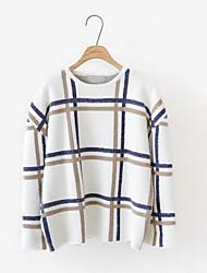 Damen Lang Pullover-Lässig/Alltäglich Ausgehen Niedlich Solide Gestreift Blau Weiß Rundhalsausschnitt Langarm Polyester Herbst Dick
