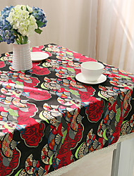 Square Patterned Table Cloth , Cotton Blend Material Hotel Dining Table / Table Decoration