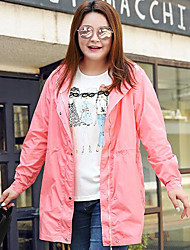 MsShe Women's Plus Size / Casual/Daily Simple Trench CoatSolid Hooded Long Sleeve Fall Blue / Pink / Red / Yellow Polyester / Nylon Medium
