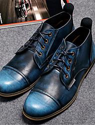 Men's Boots Spring Comfort Cowhide Casual Platform Lace-up Brown Navy Blue Burgundy