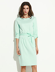 Women's Casual Crew Neck ½ Length Sleeve Pure Color Slim Dress