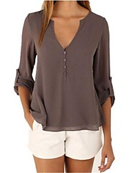 Women's Casual Simple Fall Blouse,Solid V Neck Long Sleeve Blue / Red / White / Black / Brown Cotton Medium
