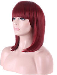 Capless Bobo Short Full Side Bang Straight Synthetic Wigs for Women Red Wine Heat Resistant Costume Cosplay Wigs with Free Hair Net