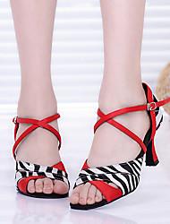 Non Customizable Women's Dance Shoes Satin Satin Latin Heels Customized Heel Practice Red