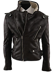 Men's Casual/Daily Simple Leather Jackets,Solid Long Sleeve Brown Special Leather Types