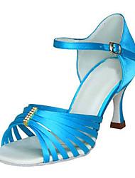 Sapatos de Dança(Azul) -Feminino-Personalizável-Latina / Jazz / Salsa / Sapatos de Swing