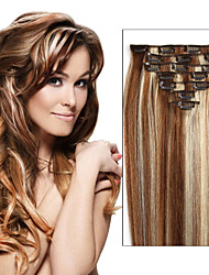 Free Shipping Brazilian Clip In Human Hair Extensions Straight Clip-In Hair Extensions Full Head 7pcs / 8pcs As Pictures Color