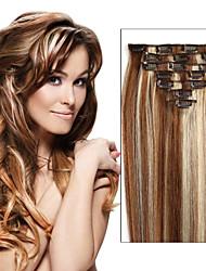 Livraison gratuite pince brazilian dans les extensions de cheveux humains droite clip-in extensions de cheveux pleins 7pcs tête / 8pcs que