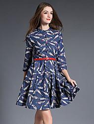 Trapèze Robe Femme Décontracté / Quotidien Chic de Rue,Imprimé Mao Au dessus du genou Manches ¾ Bleu Coton / Polyester AutomneTaille