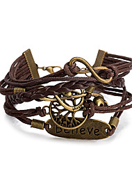 Women's Wrap Bracelet Leather Bracelet Bracelet Loom Bracelet Leather Alloy Punk Coffee Jewelry 1pc