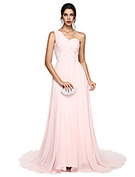 TS Couture Prom Formal Evening Dress - Elegant A-line One Shoulder Court Train Chiffon with Appliques Pleats Bandage