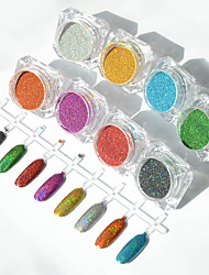 6Pcs/Set Holographic Laser Powder Nail Glitter Rainbow Pigment Manicure Chrome Pigments