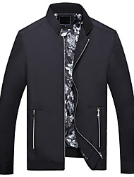 Men's Plus Size Simple JacketsSolid Stand Long Sleeve Spring / Fall Blue / Black Polyester Medium 916517