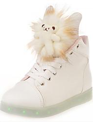 Feminino-Tênis-Conforto Sapatos de Berço Tira no Tornozelo-Rasteiro-Branco-Couro Ecológico-Casual Para Esporte