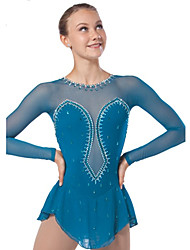Ice Skating Dress Women's / Kid's Long Sleeve Skating Dresses High Elasticity Figure Skating Dress Breathable / Comfortable Lace Elastane
