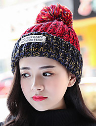 Woman Winter Protection Ear English Lettering Label Thickening Stitching Color Knit Wool Hat