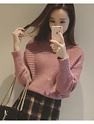 Women's Casual/Daily Simple Long Pullover,Solid Pink / Gray / Yellow Turtleneck Long Sleeve Cotton Fall Medium Micro-elastic