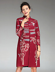 Feminino Casaco Casual / Tamanhos Grandes Temática Asiática Inverno,Bordado Vermelho / Cinza / Laranja Poliéster Colarinho Chinês-Manga ¾