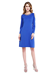 LAN TING BRIDE Sheath / Column Mother of the Bride Dress - Elegant Knee-length Long Sleeve Jersey with Beading